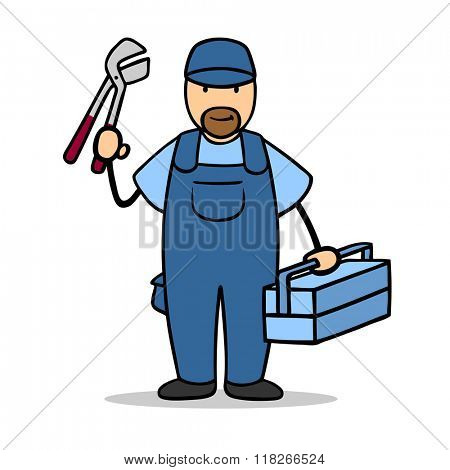 Cartoon man as plumber or installer with tools