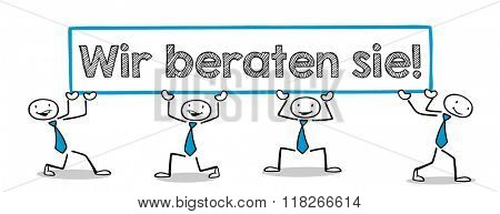 Business people holding German slogan