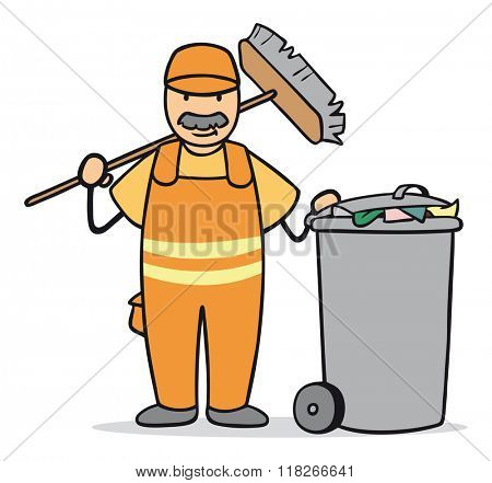 Cartoon man working at garbage disposal with broom and trashcan