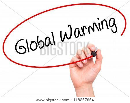 Man Hand Writing Global Warming With Black Marker On Visual Screen