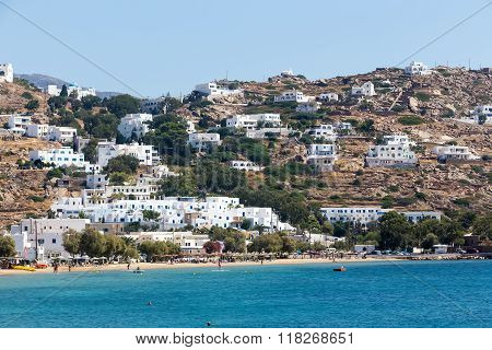 Classic Village With White Houses In The Island Of Ios, Cyclades, Greece.