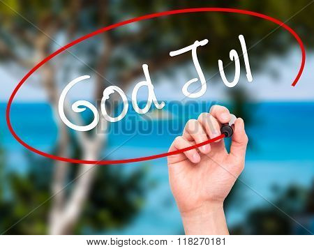Man Hand Writing God Jul  (merry Christmas In Swedish) With Black Marker On Visual Screen