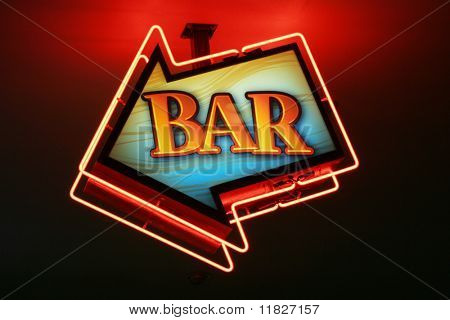 Neon arrow bar sign