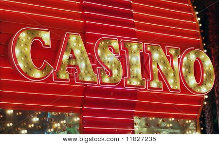 Red neon casino sign