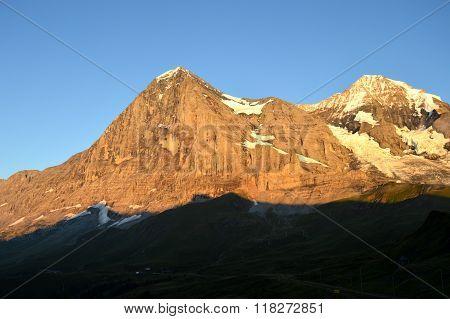 Alpenglow on the Eiger, Switzerland