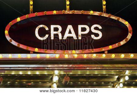 Neon craps sign