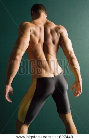 Muscular fitness male champion back