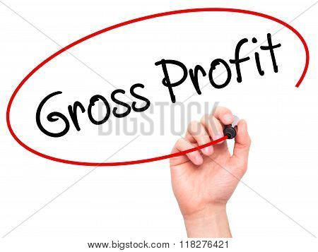 Man Hand Writing Gross Profit With Black Marker On Visual Screen