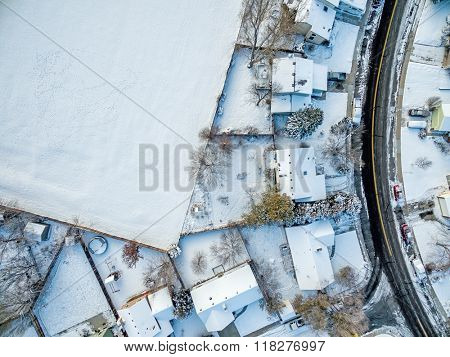 FORT COLLINS, CO, USA - NOVEMBER 29, 2015: Aerial  view of typical residential neighborhood along Front Range of Rocky Mountains in Colorado in winter scenery