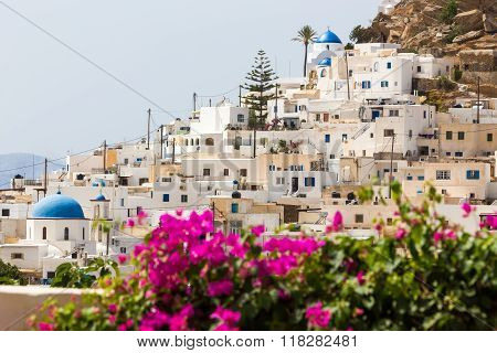 Wonderful View Of City Buildings In Ios Island, Greece