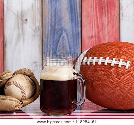Beer And American Sports Objects With Faded Wooden Boards Painted In National Colors