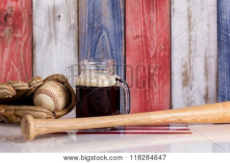 Dark Beer And Baseball Stuff With Faded Wooden Boards Painted In Usa National Colors