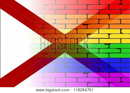 Gay Rainbow Wall Alabama Flag