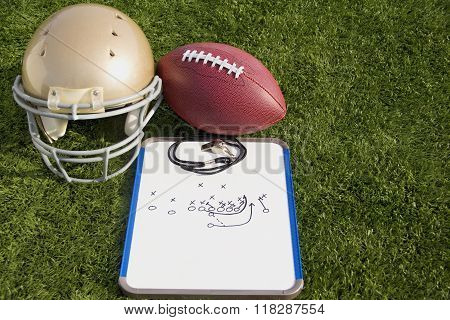 Football Helmet Ball Clipboard And whistle Landscape
