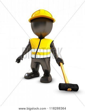3D Render of Morph Man Builder with sledgehammer