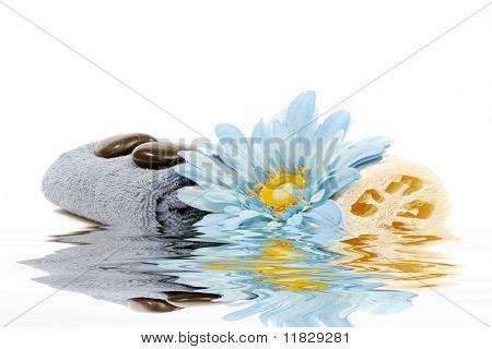 Spa towel, flower and loofah