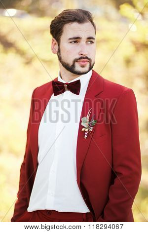 Portrait of the groom, red suit with a buttonhole flower. Wedding in style Marsala color.
