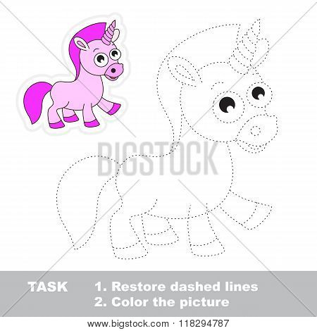 Unicorn to be traced. Vector trace game.