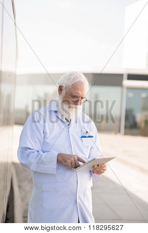 Practitioner with tablet