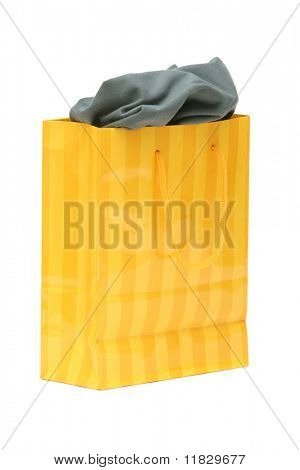 Yellow giftbag isolated on white background