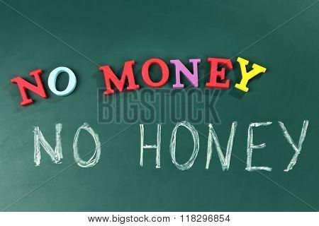 No money no honey concept on a blackboard background