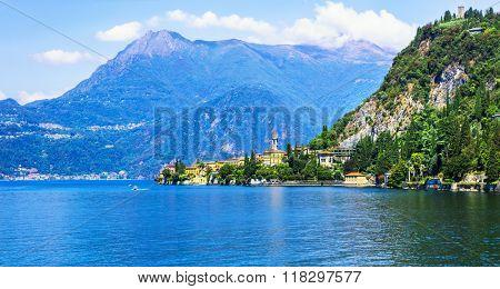 scenic lake Lago di Como and Varenna village, Italy