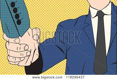 Handshake businessman retro style pop art