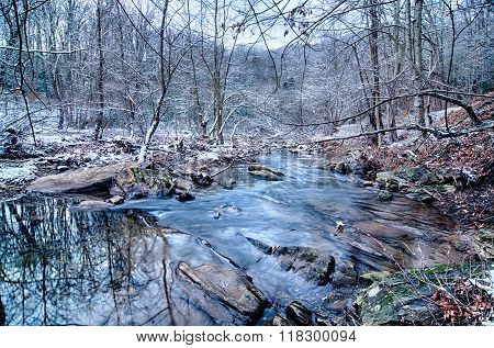 Beautiful Winter Landscape Covered In Snow Forest