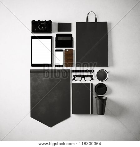 Set of generic design office elements on the white background. Square, top view. 3d render