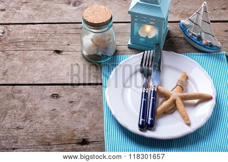 Table Setting For Summer, Sea Theme.