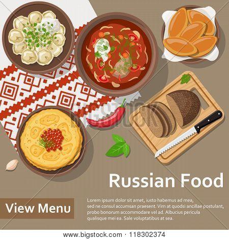 Russian food. Flat Lay Style Illustration.
