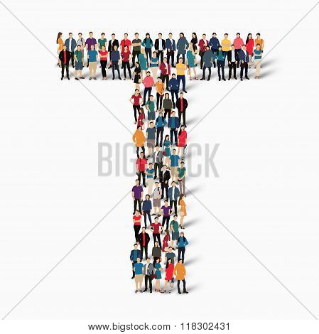 group  people  shape letter T vector