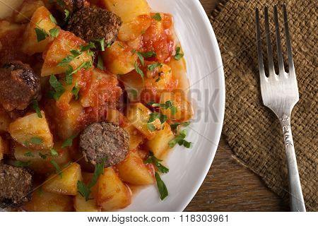 Potatoes With Chorizo Cooked Rioja Style