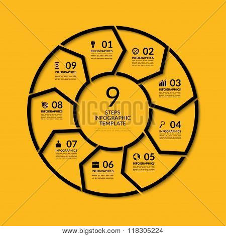 Infographic circle template. Simple black concept banner with 9 options, steps, parts. Can be used f