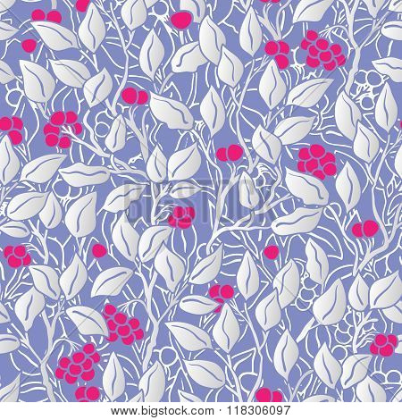 hand painted eaves seamless floral pattern vector background. Leaf pattern. Doodle vector pattern. Pastel blue, bright pink and silver.