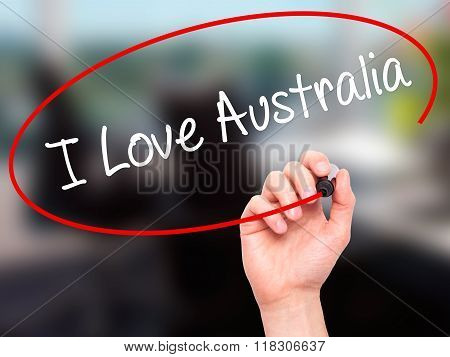 Man Hand Writing I Love Australia With Black Marker On Visual Screen