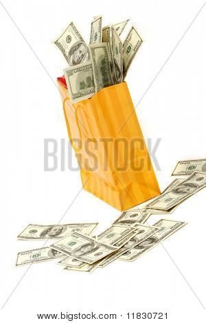Shopping bag and money isolated on white background