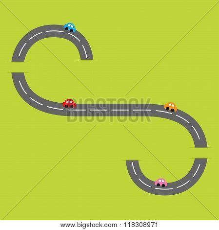 Green Background With Road White Marking And Cartoon Cars. Flat Design.