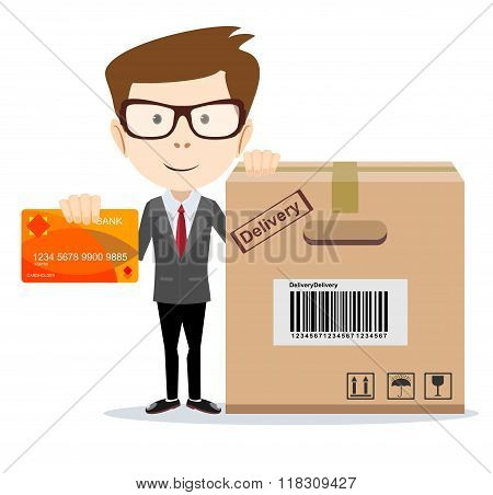 Payment by bank card chip, vector illustration