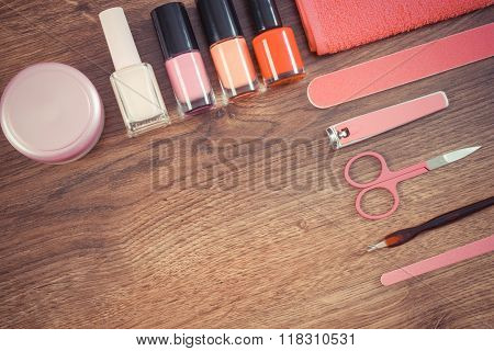 Vintage Photo, Cosmetics And Accessories For Manicure Or Pedicure, Concept Of Nail Care, Copy Space