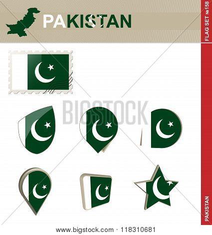 Pakistan Flag Set, Flag Set #158