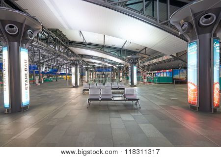 LEIPZIG, GERMANY - SEPTEMBER 10, 2014: interior of Leipzig airport. Leipzig Airport is an international airport located in Schkeuditz, Saxony and serves both Leipzig, Saxony and Halle, Saxony-Anhalt.