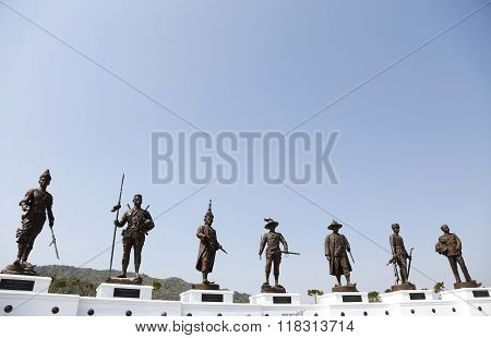 Hua Hin,THAILAND- JANUARY 01,2016:View of the Rajabhakti park, seven kings of Thailand were construc