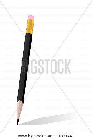 Realistic Illustration Of Single Black Pencil