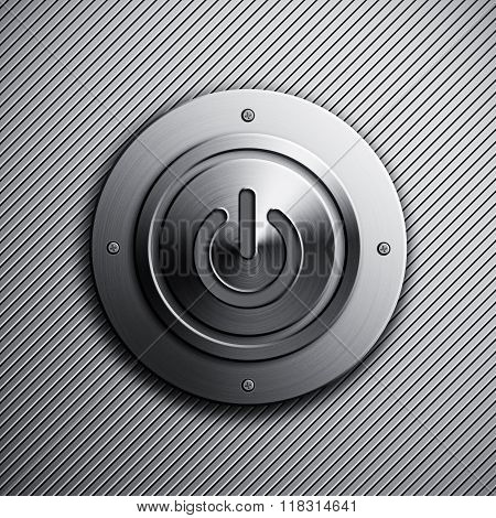 Background with a polished metal power button