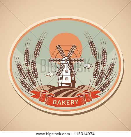 Bakery label with old mill and wheat. Vector illustration.