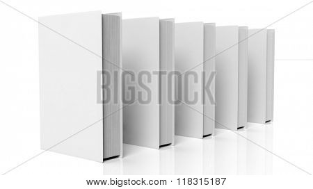 Books in a row with blank hardcover, isolated on white background.