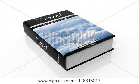 Hardcover book on Travel with illustration on cover, isolated on white background.