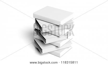 Stack of books with blank hardcover, isolated on white background.
