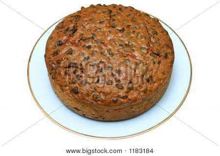 Home Made Fruit Cake, Isolated On A White Background.